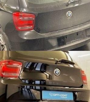 Exterieur cleaning voor & na BMW achterzijde Mobile Clean