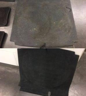 Voor en na interieur cleaning voetmat
