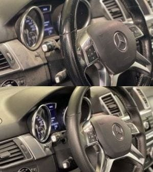 Voor en na interieurcleaning stuur
